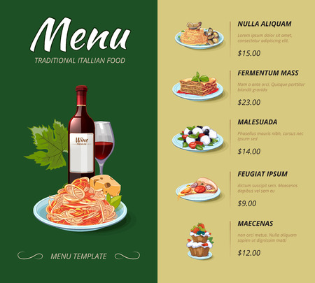 Vektor für Italian cuisine restaurant menu. Food dinner, cooking lunch, pasta spaghetti, italy cheese illustration. Vector design template - Lizenzfreies Bild