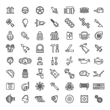 Car parts line icons set. Auto service repair symbol, gear engine, spanner and filter, vector illustration