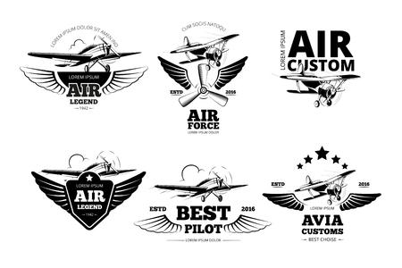 Ilustración de Airplane emblems vector labels. Aviation, flight and best pilot illustration - Imagen libre de derechos