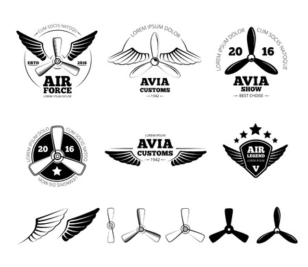 Ilustración de Vintage airplane labels, emblems and symbols set. Aviation stamp, wing flight, propeller vector illustration - Imagen libre de derechos