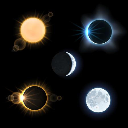 Illustration for Sun and moon and suns and moons eclipse. Astronomy sky, vector illustration set - Royalty Free Image