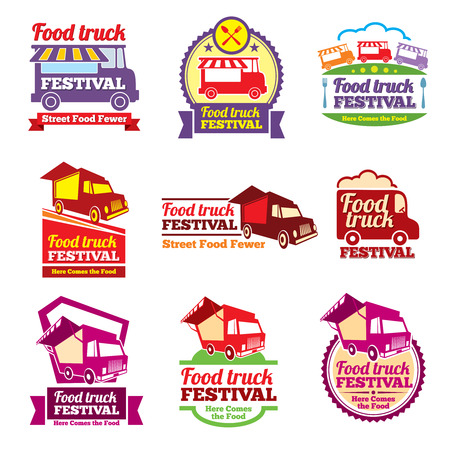 Street food festival color labels set. Cafe urban, mobile market, event and transport, vector illustration