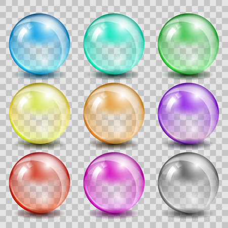 Ilustración de Abstract glass color spheres on transparent background. Ball shiny transparent, bubble reflection and glossy, vector illustration - Imagen libre de derechos