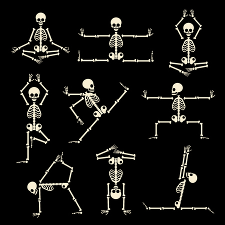 Illustration for Kung fu and yoga skeletons set. Human pose anatomy, body comic, healthy fitness, vector illustration - Royalty Free Image