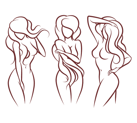 Illustration for Beautiful woman vector silhouette. Beautiful girl body, - Royalty Free Image