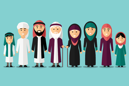 Illustration pour Arab family. Flat muslim characters. People traditional islam culture, man and woman, vector illustration - image libre de droit