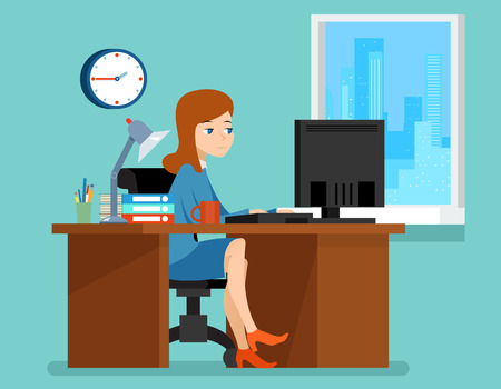 Illustration pour Woman working in office at the desk with computer.  Professional workplace. Business woman on workplace vector illustration in flat style - image libre de droit