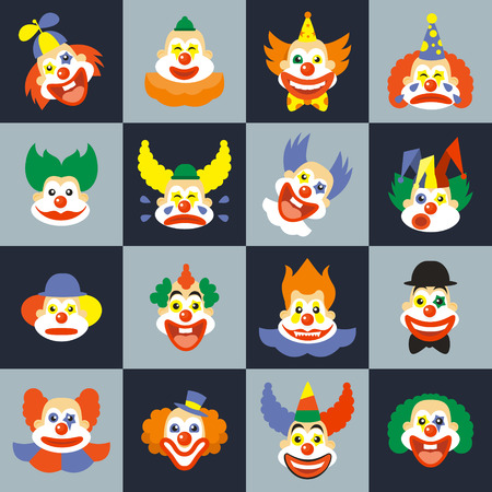 Illustration pour Clown face set. Character cry with hair in costume, carnival circus clown faces. Clown faces vector illustration - image libre de droit
