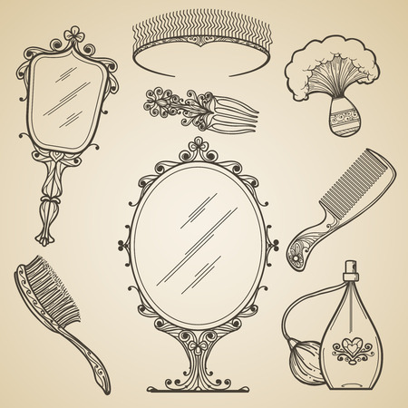 Photo pour Hand drawn vintage beauty and retro makeup items. Fashion doodle and sketch mirror. Vintage beauty retro makeup vector icons - image libre de droit