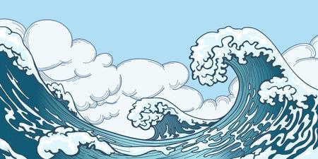Illustration pour Ocean big wave in Japanese style. Water splash, storm space, weather nature. Hand drawn big wave vector illustration - image libre de droit
