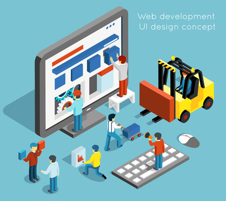 Illustration pour Web development and UI design concept in flat 3d isometric style. Technology website and computer interface design. Web UI development vector illustration - image libre de droit