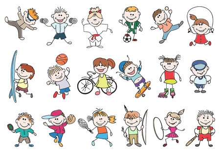 Illustration pour Kids sport activity. Basketball and tennis, soccer and baseball, jump athletic lifestyle. Doodle children sport activity vector illustration - image libre de droit