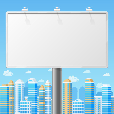 Illustration for Blank billboard with urban background. Advertising commercial frame, advertisement blank, outdoor board or poster. Empty billboard with city background vector illustration - Royalty Free Image