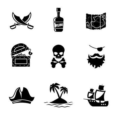 Illustration pour Pirates icons vector set. Skull and ship, pirates treasure map, pirates hat and sword. Pirates signs vector illustration - image libre de droit