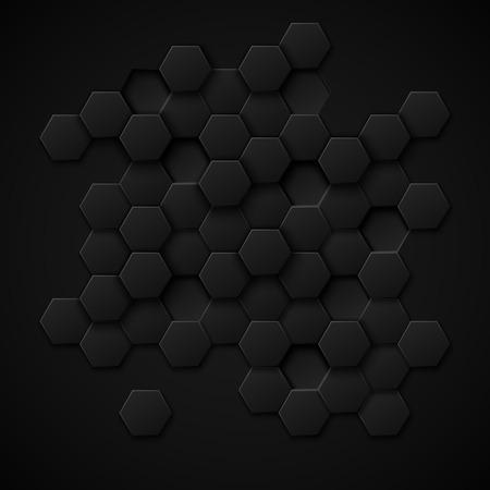 Illustration pour Carbon technology vector abstract background. Design metal black, texture industrial material illustration - image libre de droit