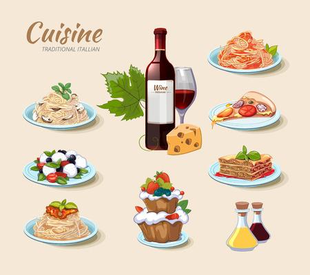 Ilustración de Italian cuisine vector icons set in cartoon style. Cake and cheese, wine and pizza, food menu, pasta spaghetti illustration - Imagen libre de derechos