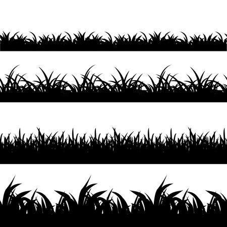 Ilustración de Seamless grass black silhouette vector set. Landscape nature, plant and field monochrome illustration - Imagen libre de derechos