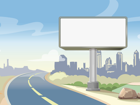 Illustration pour Blank advertising highway billboard and urban landscape. Commercial advertisement outdoor, board poster. Vector illustration - image libre de droit