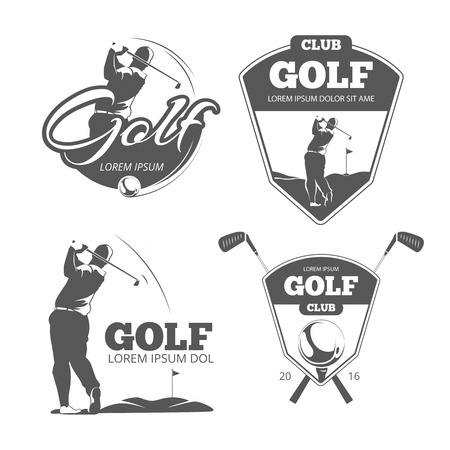 Ilustración de Vintage golf vector labels, badges and emblems. Sport sign icon, club game illustration - Imagen libre de derechos