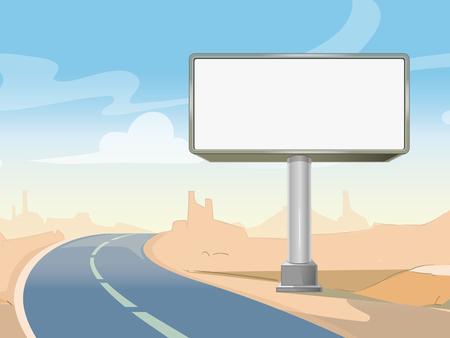 Illustration for Road advertising billboard and desert landscape. Commercial frame blank outdoor. Vector illustration - Royalty Free Image