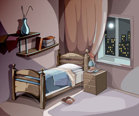 Illustration for Bedroom interior at night in cartoon style. Vector sleeping concept background. Illustration room with bed furniture, comfort for sleep relaxation and dream - Royalty Free Image