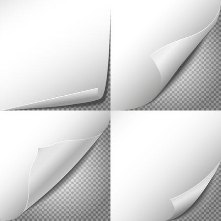 Illustration pour Curl paper corners vector set with checkered transparent background. Sheet sticker, message blank label illustration - image libre de droit