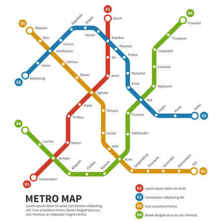 Illustration pour Subway, metro vector map. Template of city transportation scheme. Scheme map underground, metro subway road,  transportation railway subway illustration - image libre de droit