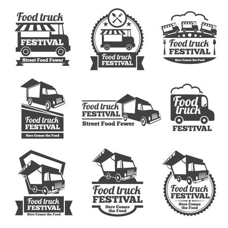Ilustración de Food truck festival emblems and logos vector set. Festival street food, badge food festival, emblem food truck illustration - Imagen libre de derechos
