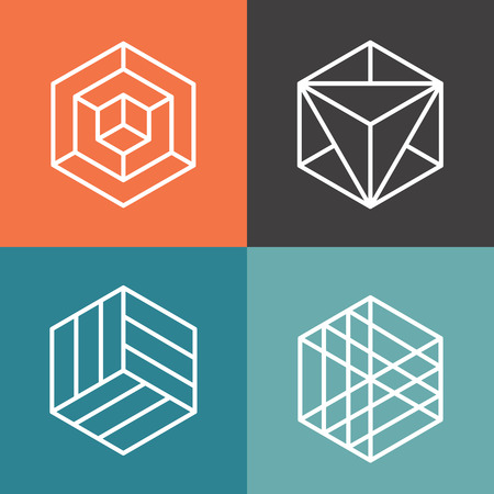 Hexagon vector logos in outline linear style. Logo hexagon, abstract hexagon,  geometric logo hexagon illustrationのイラスト素材