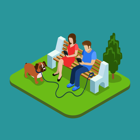 Social media addiction. Young couple in park with smartphones. 3d isometric people concept. Man and woman addiction social media, network social illustration
