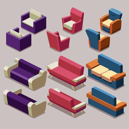 Illustration pour Living room isometric furniture vector set. Sofa and armchairs. Sofa interior, armchair furniture, isometric sofa and armchair illustration - image libre de droit