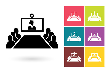 Conference vector icon or video conference symbol. Online meeting icon or online conference pictogram for business meeting logo or label with video conference