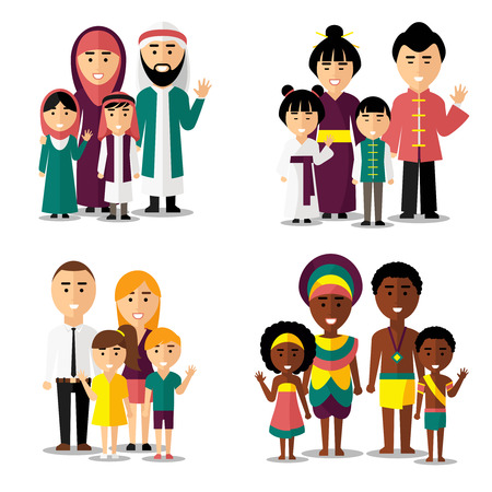 Foto de African, asian, arab and european families. Family asian, family african, family european, family asian. Vector illustration characters icons set - Imagen libre de derechos