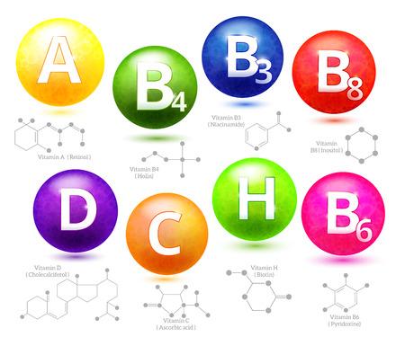 Illustration pour Vitamins chemical structures. Molecule vitamin, molecular chemical vitamin, structure chemistry vitamin, vector illustration - image libre de droit