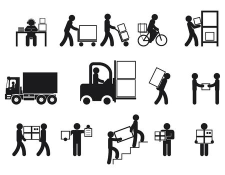 Illustration pour Logistic people pictograms. Logistic worker, man delivery, logistic business, vector illustration - image libre de droit
