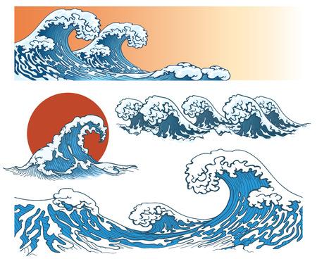 Waves in japanese style. Sea wave, ocean wave splash, storm wave. Vector illustration