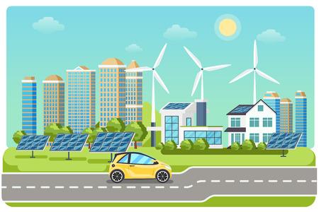 Illustration pour Electromobile on highway. Electric car, electro car,  windmill city, solar electromobile, driving on highway. Vector illustration - image libre de droit