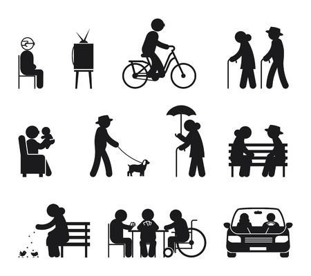 Elderly leisure activities. Leisure elderly people, couple old leisure, outdoor together illustration vector