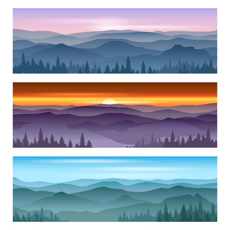 Sunrise at mountains and mountains sunset. Vector Backgrounds landscape, nature sunset, outdoor sunrise mountain illustration