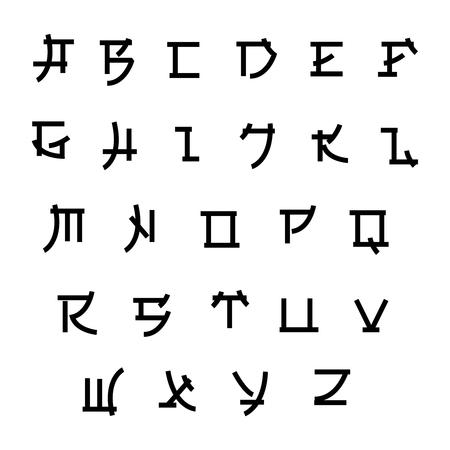 Illustration pour Font in japan style, vector asian type. Japanese style abc, alphabet letter illustration - image libre de droit