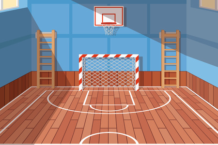 Illustration pour School or university gym hall. Gym court for football and basketball, school hall, floor game. Vector illustration - image libre de droit
