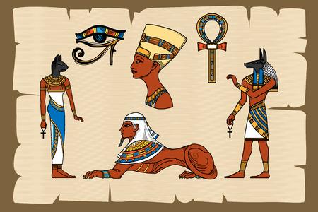 Illustration pour Ancient Egypt symbols on papyrus. Papyrus egyptian, ancient history, vector illustration - image libre de droit