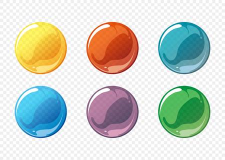 Illustration pour Cartoon soap bubble vector set. Bubble circle soap, sphere bubble soap, ball transparent bubble soap, glossy bubble soap. Vector illustration - image libre de droit