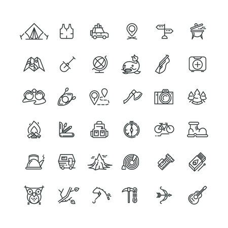 Illustration pour Camping and outdoor vector line icons set. Outdoor camping, travel outdoor, tourism camping, equipment adventure camping outdoor, mountain camping outdoor icon illustration - image libre de droit