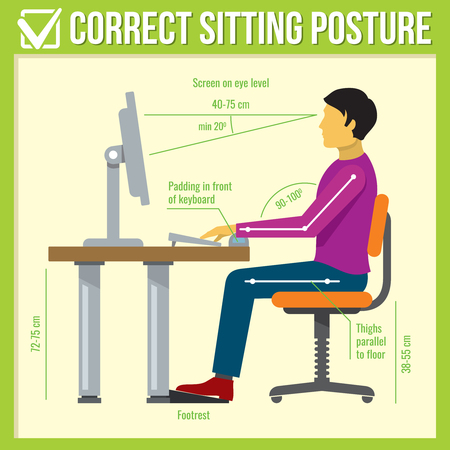 Correct sitting posture. Vector infographics. Posture correct, health correct sitting, body correct sitting infographic illustration