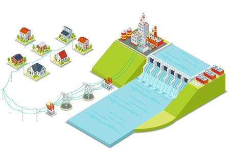 Illustration pour Hydro power plant. 3D isometric electricity concept. Energy electric, alternative hydroelectric, hydro turbine, vector illustration - image libre de droit