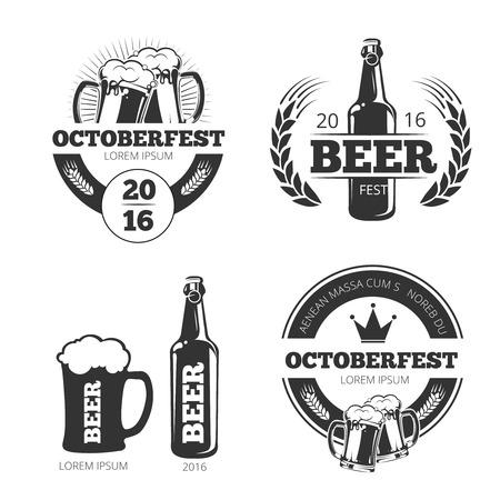 Ilustración de Vintage beer brewery vector emblems, labels, badges, logos set. Emblem beer, badge beer brewery, label brewery beer, beer logo illustration - Imagen libre de derechos