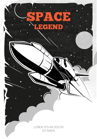 Illustration pour Vintage space vector poster with shuttle. Vintage poster, shuttle or rocket in space, retro banner, launch shuttle ship, shuttle in space illustration - image libre de droit