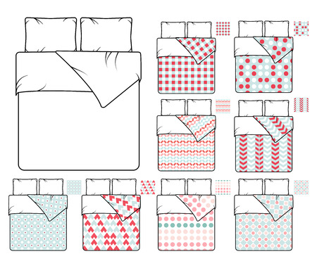Bedding and linen vector template and sample patterns set. Pattern decoration bedding, decor seamless fabric bedding, textile bedding bedroom illustration