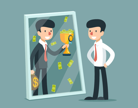 Businessman standing in front mirror and see himself being successful. Vector business concept. Businessman success reflection, businessman looking mirror, businessman himself successful illustration